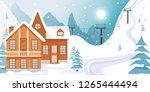 ski resort banner illustration... | Shutterstock .eps vector #1265444494