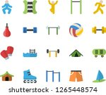 color flat icon set dumbbell...