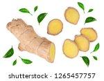 fresh ginger root and slice... | Shutterstock . vector #1265457757