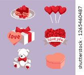 icons of sugary hearts  gifts ...   Shutterstock .eps vector #1265460487