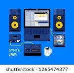 synth jam illustration. laptop...   Shutterstock .eps vector #1265474377