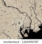 vector map of the city of tokyo ... | Shutterstock .eps vector #1265490787