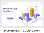 landing page with downtown... | Shutterstock .eps vector #1265493994