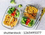 healthy meal prep containers... | Shutterstock . vector #1265495377