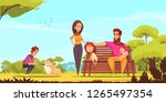 Stock vector family active holidays parents kids and dog in summer park on blue sky background cartoon vector 1265497354