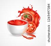 tomato sauce bowl realistic... | Shutterstock .eps vector #1265497384