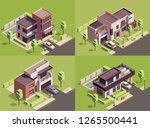 suburbian buildings isometric... | Shutterstock .eps vector #1265500441