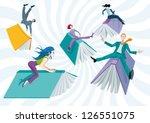 men and women riding books like ... | Shutterstock .eps vector #126551075