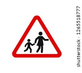 road sign school crossing red... | Shutterstock .eps vector #1265518777