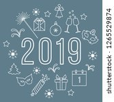 new year symbols. gifts ... | Shutterstock .eps vector #1265529874