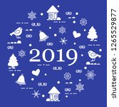 happy new year 2019 card.... | Shutterstock .eps vector #1265529877