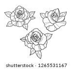 tattoo roses black and white... | Shutterstock .eps vector #1265531167