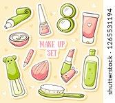 cute cosmetics stickers. vector ... | Shutterstock .eps vector #1265531194