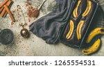flat lay of freshly baked dark... | Shutterstock . vector #1265554531