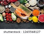 healthy food clean eating... | Shutterstock . vector #1265568127