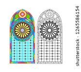 gothic windows. vintage frames. ... | Shutterstock .eps vector #1265586154