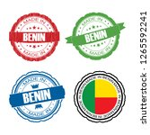 stamp made in benin label set... | Shutterstock . vector #1265592241