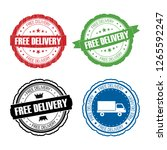 stamp free delivery set. | Shutterstock . vector #1265592247