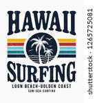 vintage hawaii theme text with... | Shutterstock .eps vector #1265725081