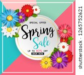 spring sale banner with... | Shutterstock .eps vector #1265752621