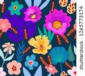 summer tropical print.... | Shutterstock .eps vector #1265773174