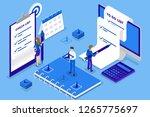 businesswoman standing at long... | Shutterstock .eps vector #1265775697