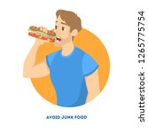 man eating fast food. unhealthy ... | Shutterstock .eps vector #1265775754