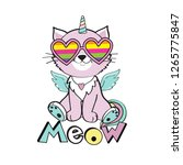 little cat unicorn with winged...   Shutterstock .eps vector #1265775847