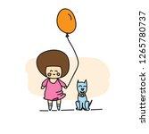 doodle cartoon girl balloon and ... | Shutterstock .eps vector #1265780737
