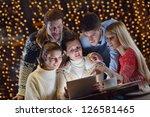 group of happy people looking... | Shutterstock . vector #126581465
