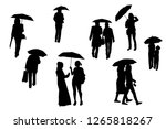 silhouettes of walking people... | Shutterstock .eps vector #1265818267