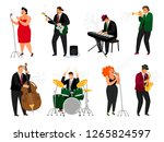 jazz people. singing girl with... | Shutterstock .eps vector #1265824597