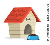 empty dog kennel with red... | Shutterstock .eps vector #1265828701