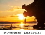 the angler fisherman at ice... | Shutterstock . vector #1265834167
