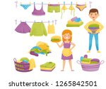 flat vector set of cartoon... | Shutterstock .eps vector #1265842501