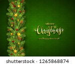 holiday decorations on green... | Shutterstock . vector #1265868874