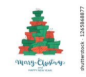 holiday card. set of red and... | Shutterstock . vector #1265868877