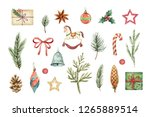 watercolor christmas set with... | Shutterstock . vector #1265889514