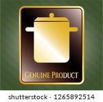 golden badge with cooking pot... | Shutterstock .eps vector #1265892514