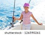 Child Girl Sailing In Fishing...