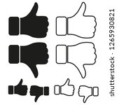 like dislike icon flat. black... | Shutterstock .eps vector #1265930821