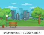 summer  spring day park vector... | Shutterstock .eps vector #1265943814