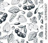 berry hand drawn seamless... | Shutterstock .eps vector #1265982637