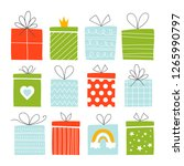 set of vector gift boxes | Shutterstock .eps vector #1265990797