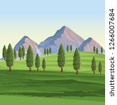landscape with mountains and... | Shutterstock .eps vector #1266007684
