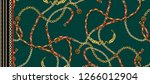 chain pattern green gold | Shutterstock . vector #1266012904