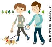 dog walking couple   Shutterstock .eps vector #126603719