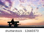 Silhouette Of Thinking Man On...