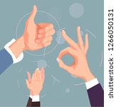 hand like and ok gesturing... | Shutterstock .eps vector #1266050131