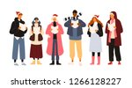 choir or group of cute men and... | Shutterstock .eps vector #1266128227